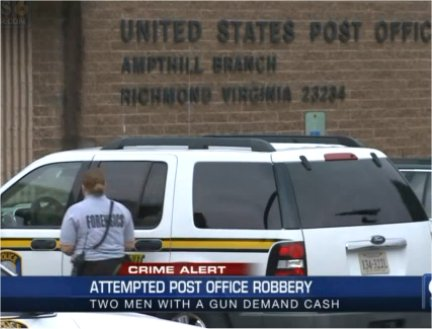 Video: Attempted daylight robbery of Chesterfield, VA Post Office