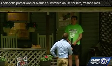 Video: Apologetic postal worker blames substance abuse for late, trashed mail