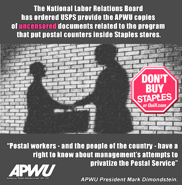 APWU: NLRB Orders USPS to Release More Info on Staples Deal