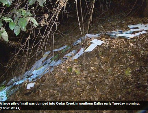 Video: Texas City Carrier Assistant Fired Over Dumping Mail In Dallas Creek Bed