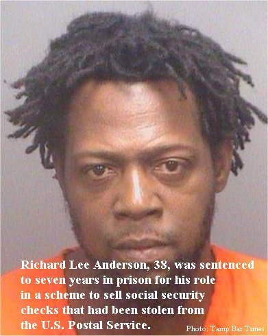 Tampa man gets seven years in scheme to sell stolen social security checks he obtained from a former postal employee