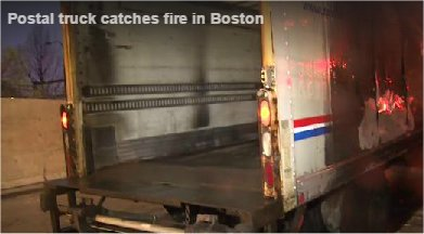 Video: Postal truck catches fire in Boston