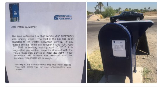 Video: USPS collection box stolen in Phoenix, mailers urged to call Postal Inspection Service