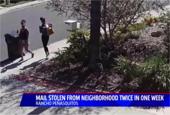 Video catches San Diego area mail thieves in the act