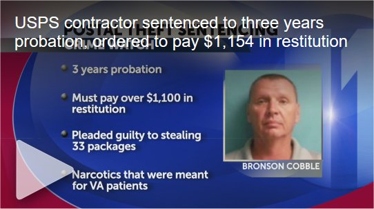 Video: Tennessee USPS contractor sentenced to three years probation for stealing narcotics intended for veterans