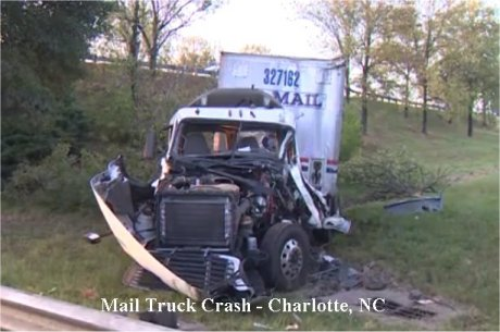 Charlotte postal truck crash leaves one with serious injuries