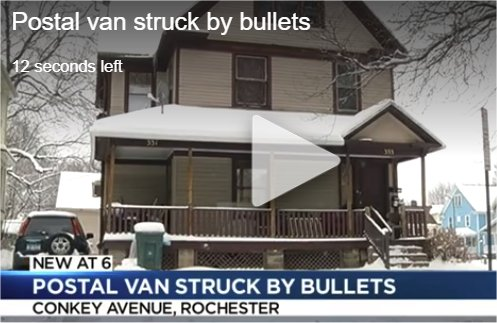 Postal van struck by bullets in Rochester, NY
