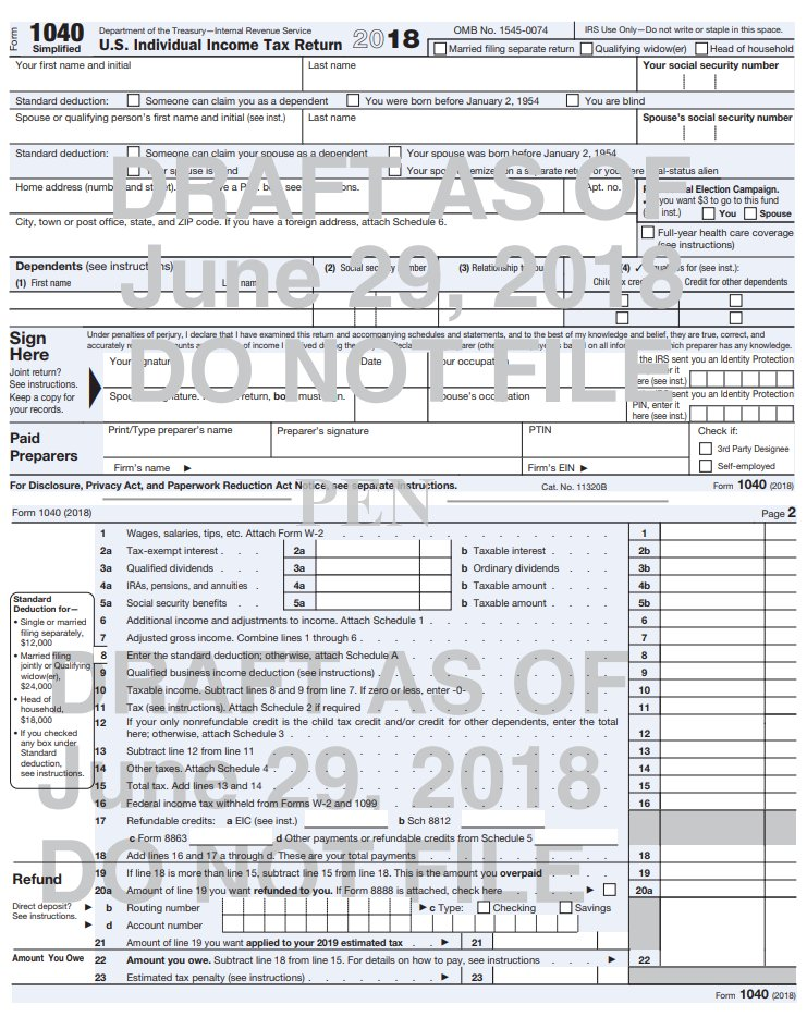 2019 1040 Schedule A IRS Working on a New Form 1040 for 2019 Tax Season – Postal